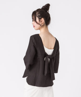 Back Ribbon Blouse - BLACK
