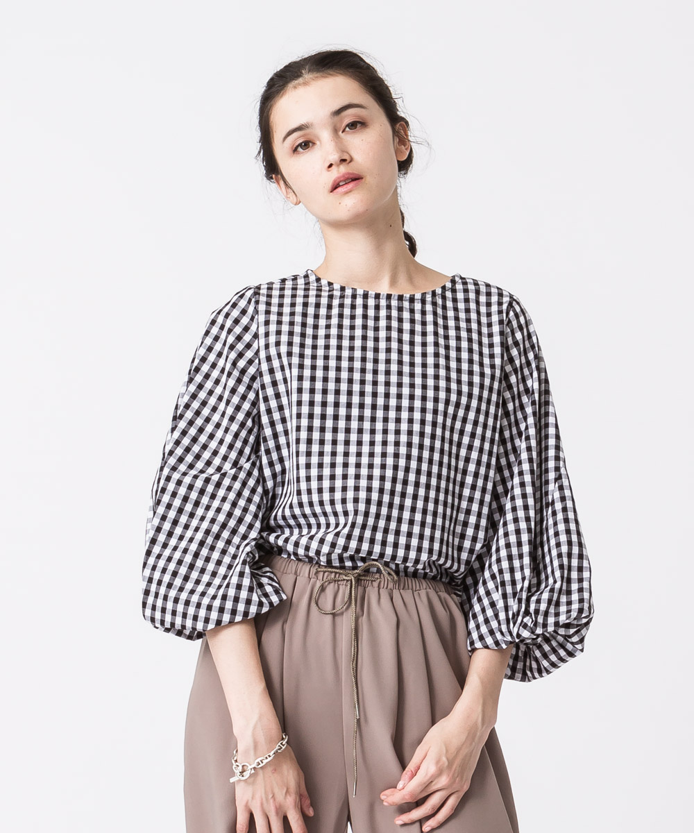 Balloon Sleeves Blouse - GINGHAM CHECK