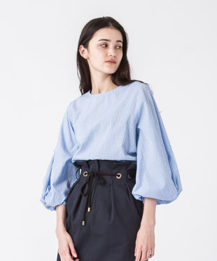 Balloon Sleeves Blouse - SAX STRIPE