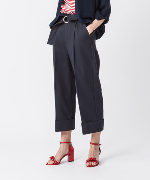 Belted Cropped Wide Pants - NAVY