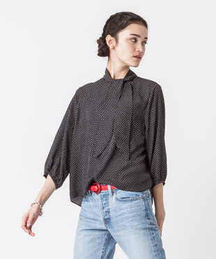 Bow-tie Blouse - MINI/BLACK