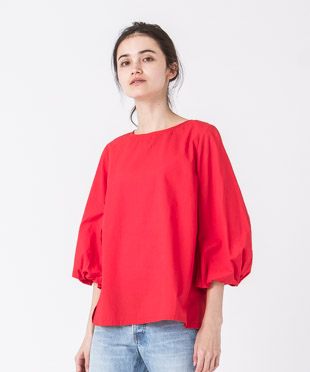 Balloon Sleeves Blouse - RED