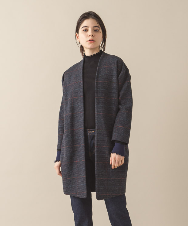 Buttonless Long Jacket - NAVY