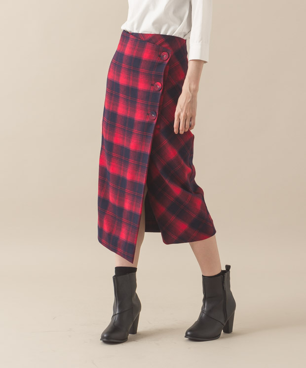 Check Wrapped Skirt - RED