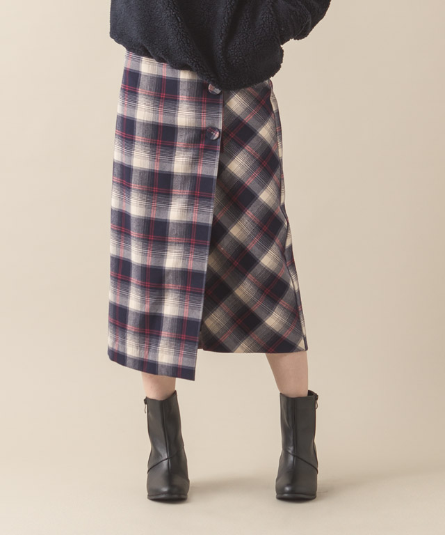 Check Wrapped Skirt - NAVY