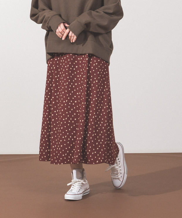 Dots Flare Skirt - BROWN
