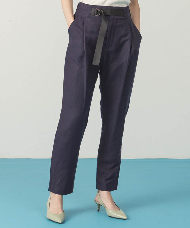 Belted Tapered Pants - NAVY