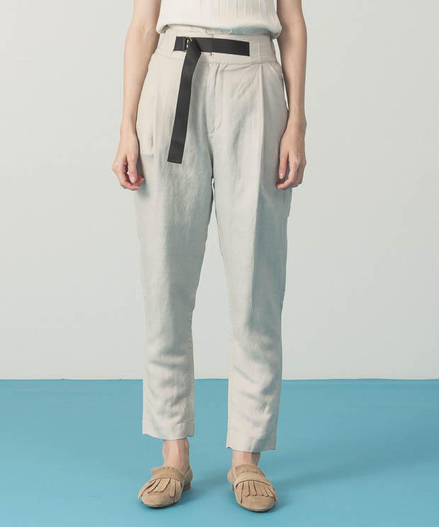 Belted Tapered Pants - BEIGE