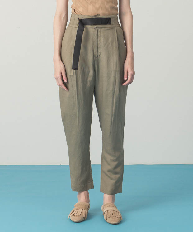 Belted Tapered Pants - KHAKI
