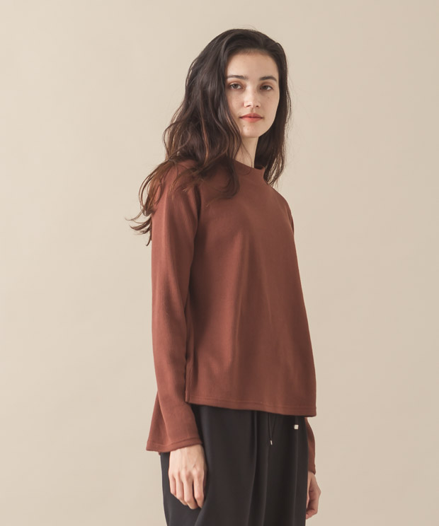 Bell Sleeves High-Neck Pullover - BROWN