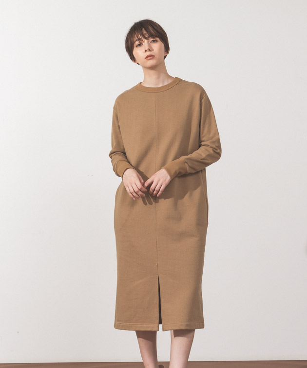 Sweat Dress - CAMEL