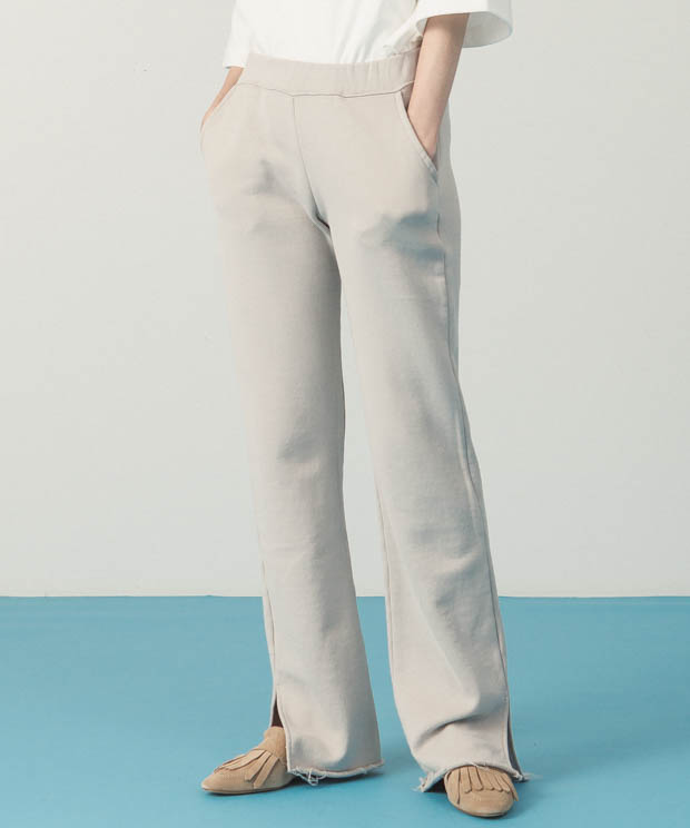 Side Slit Sweat Pants - BEIGE