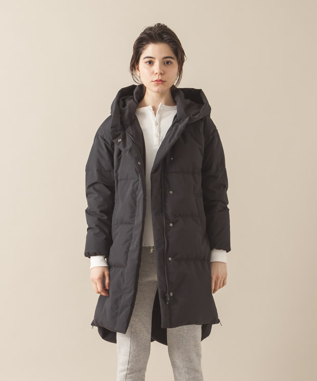 2-Layer Hooded Down Coat - BLACK