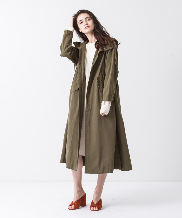 Tussah Hooded Coat - KHAKI