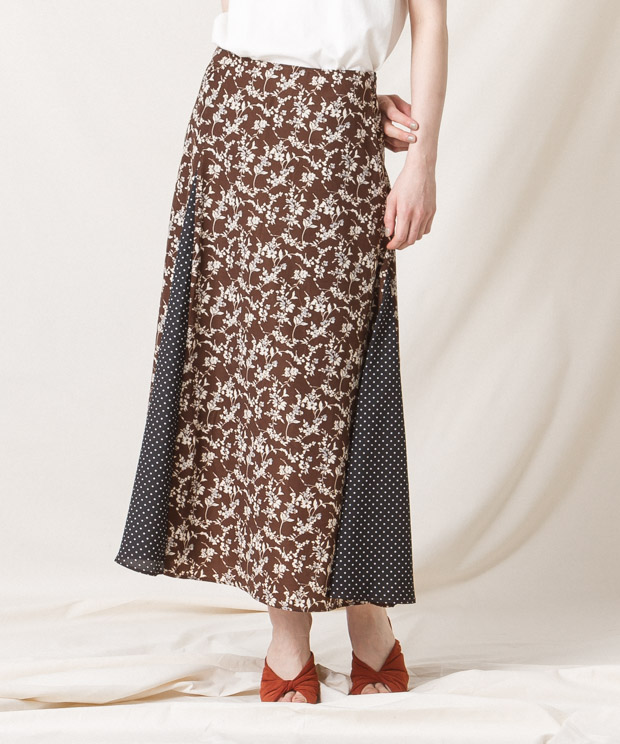 Flowers/Dots Flare Skirt - BROWN
