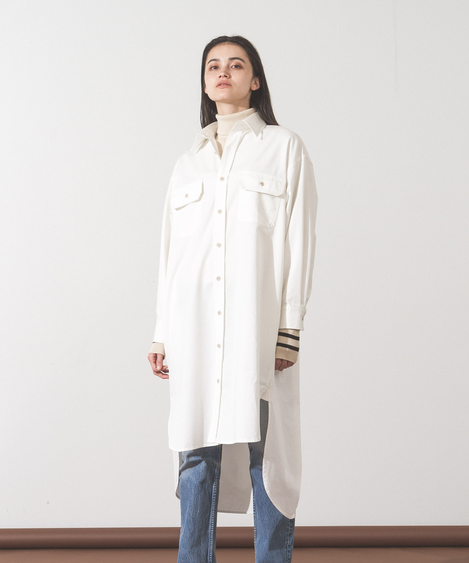 Work Shirt Dress - WHITE