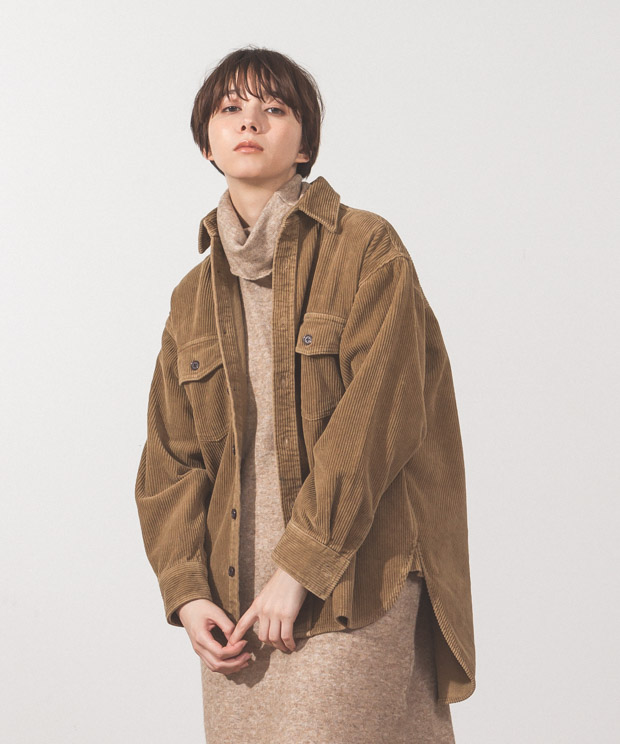 8Wale Corduroy Big Shirt Jacket - CAMEL