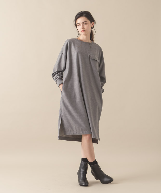 Dropped Soulders Dress - GRAY