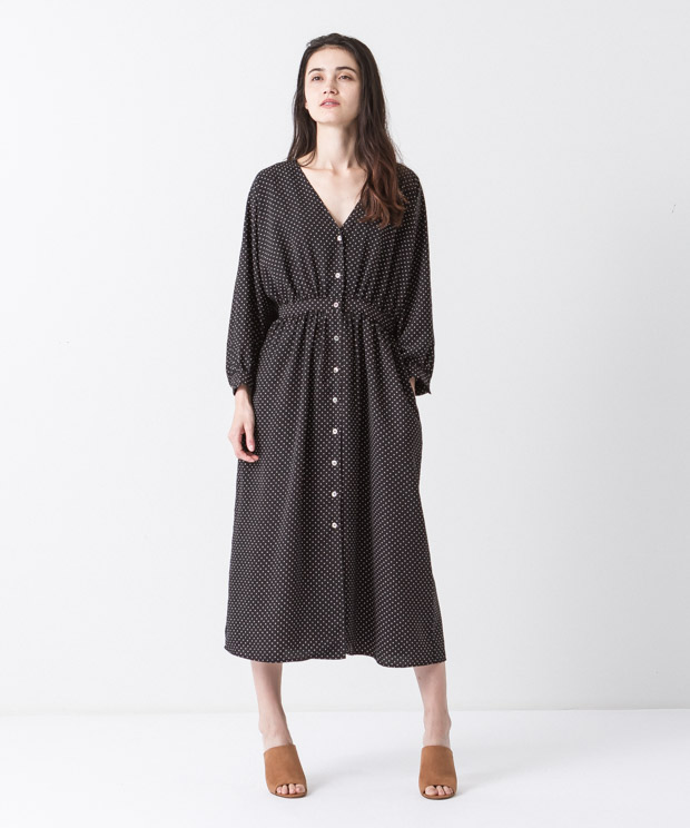 Waist Gathered Dress - DOTS