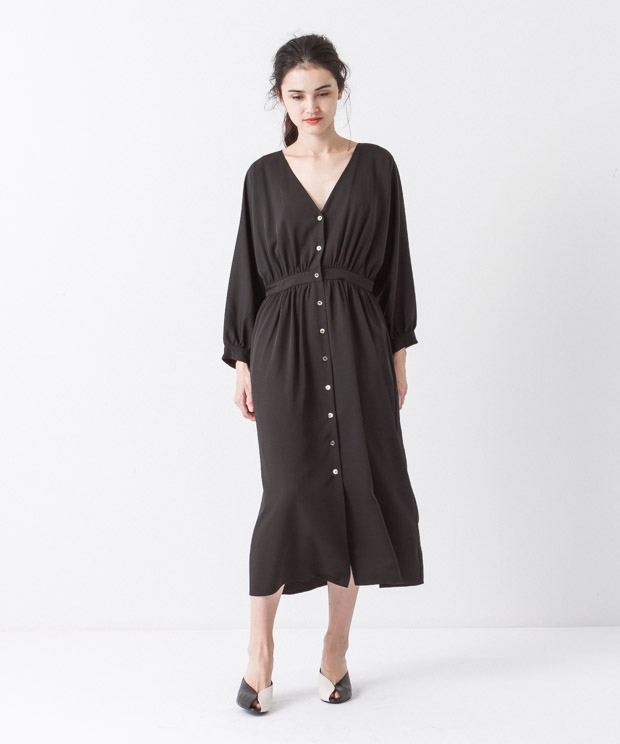 Waist Gathered Dress - BLACK
