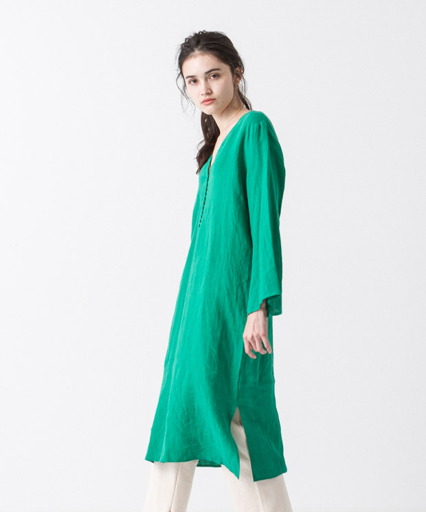 Linen Covered Button Dress - GREEN