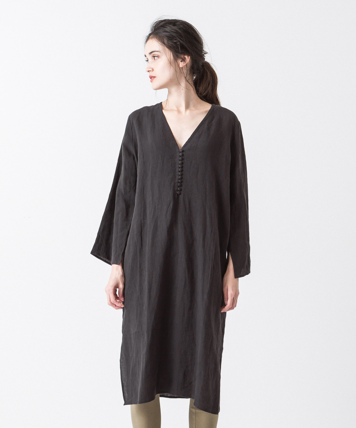 Linen Covered Button Dress - BLACK