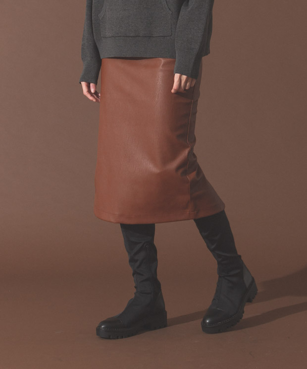 Eco Leather Tight Skirt - BROWN