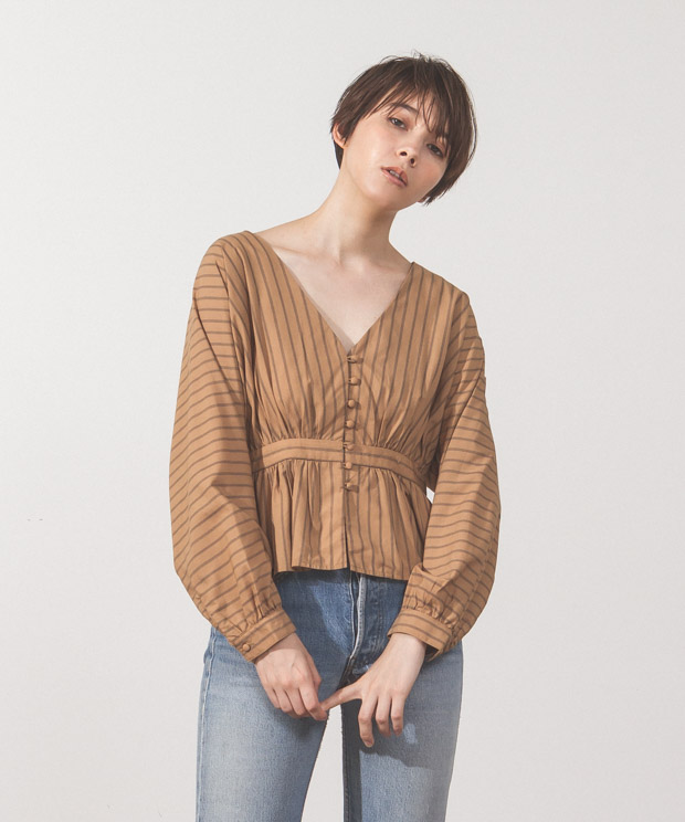 Striped Covered Button Blouse - CAMEL