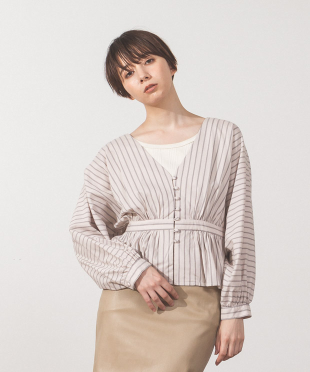 Striped Covered Button Blouse - IVORY