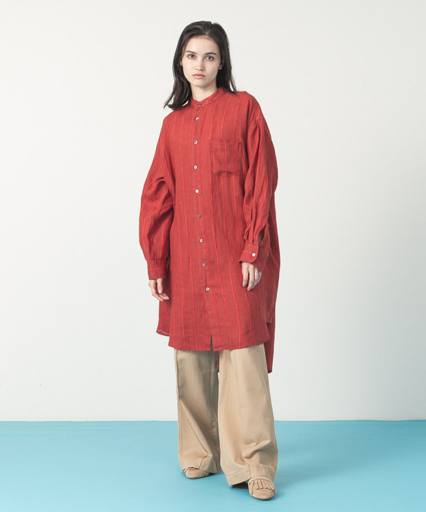 Linen Stripe Long Shirt - RED