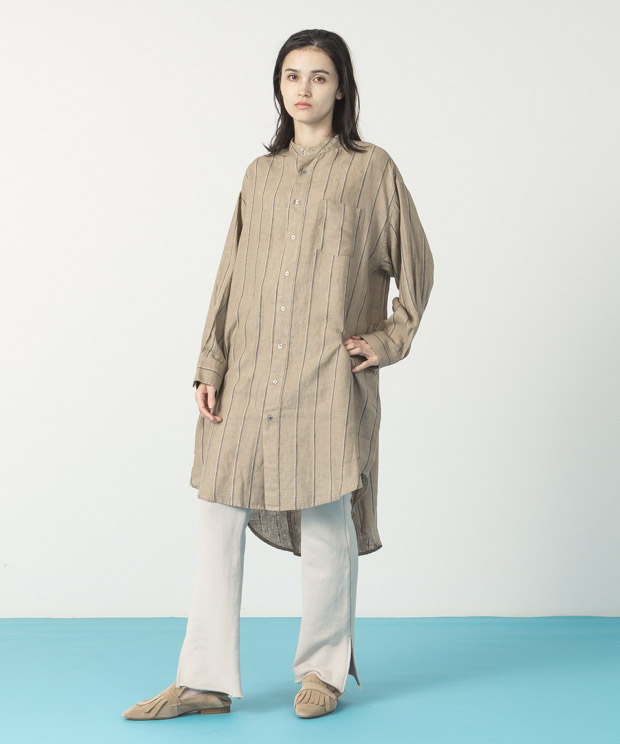 Linen Stripe Long Shirt - BEIGE