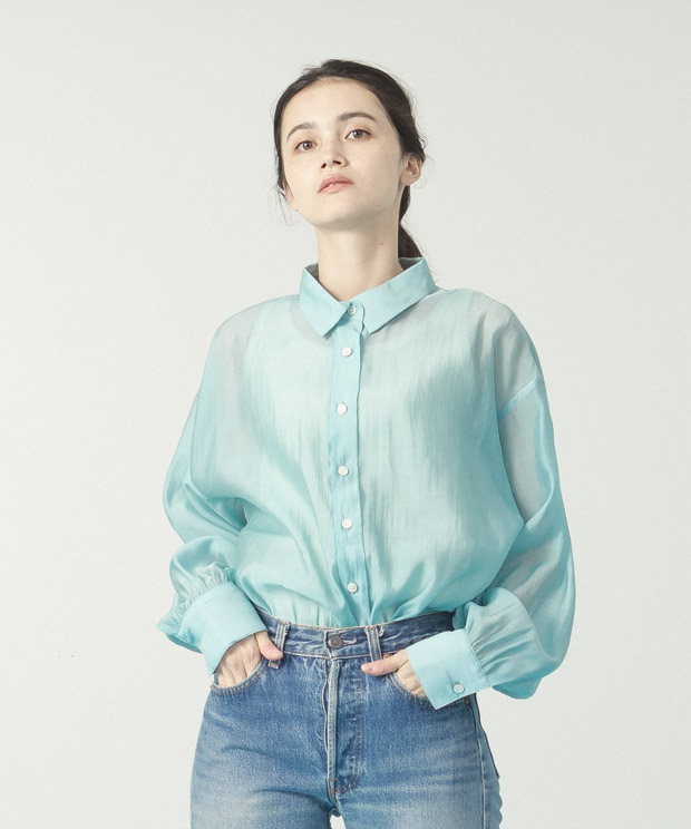 Sheer Volume Sleeves Shirt  - SAX