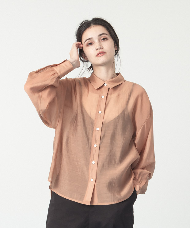 Sheer Volume Sleeves Shirt  - CAMEL