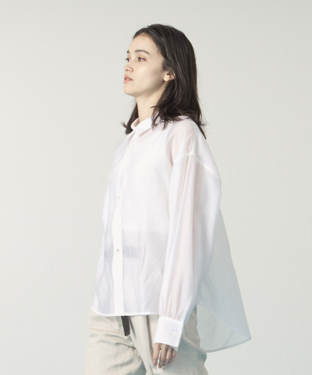 Sheer Volume Sleeves Shirt  - WHITE