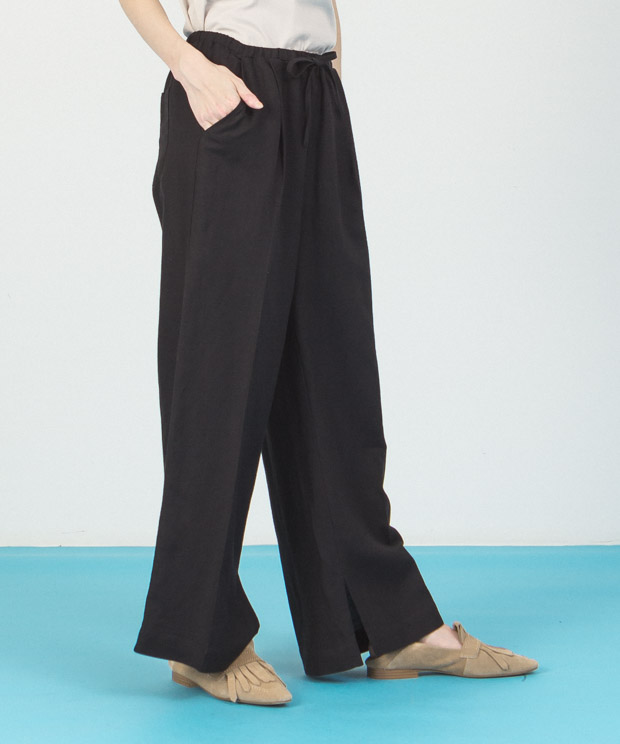 Linen Rayon Wide Pants  - BLACK
