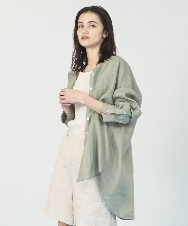 Linen Band Collar Long Shirt - GREEN