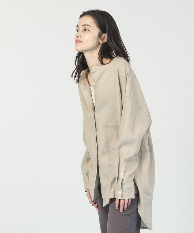 Linen Band Collar Long Shirt - BEIGE
