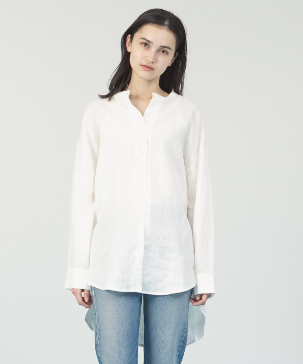 Linen Band Collar Long Shirt - WHITE