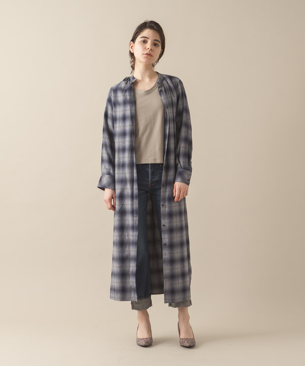 Viyella Check Maxi Gown - NAVY