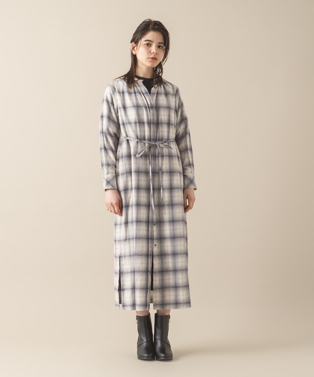 Viyella Check Maxi Gown - WHITE