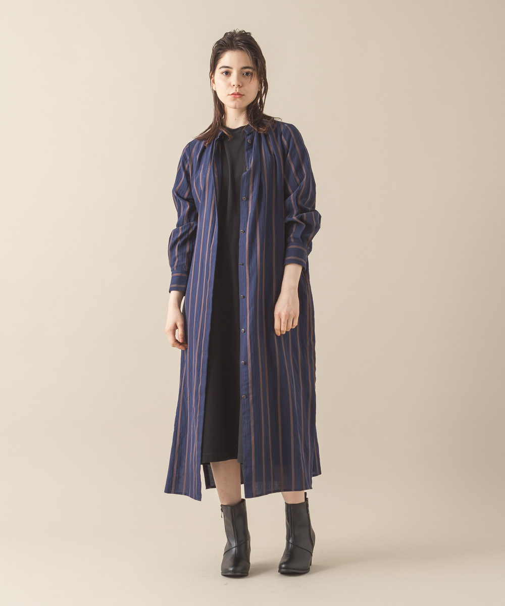 Vintage Striped Maxi Gown - NAVY