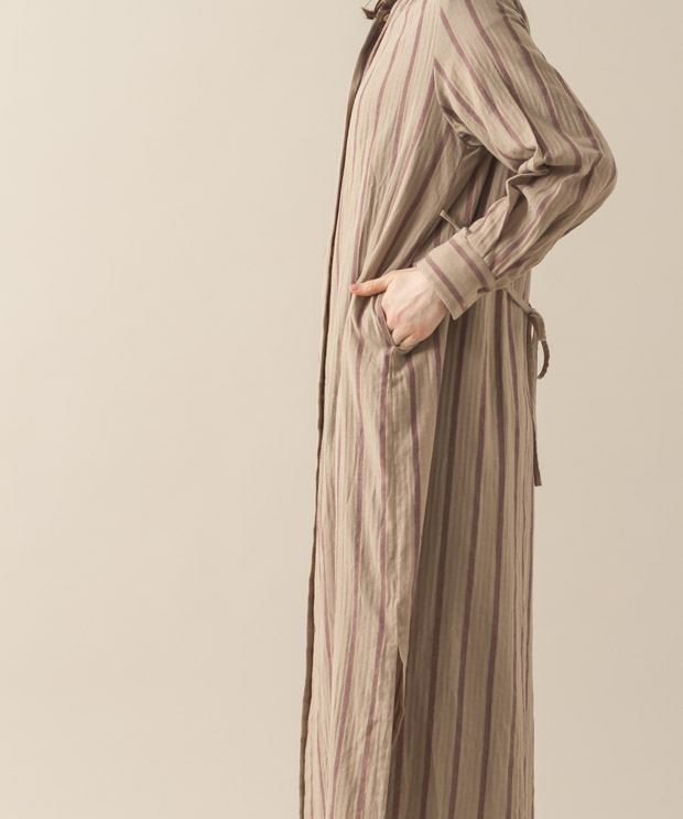 Vintage Striped Maxi Gown - BEIGE