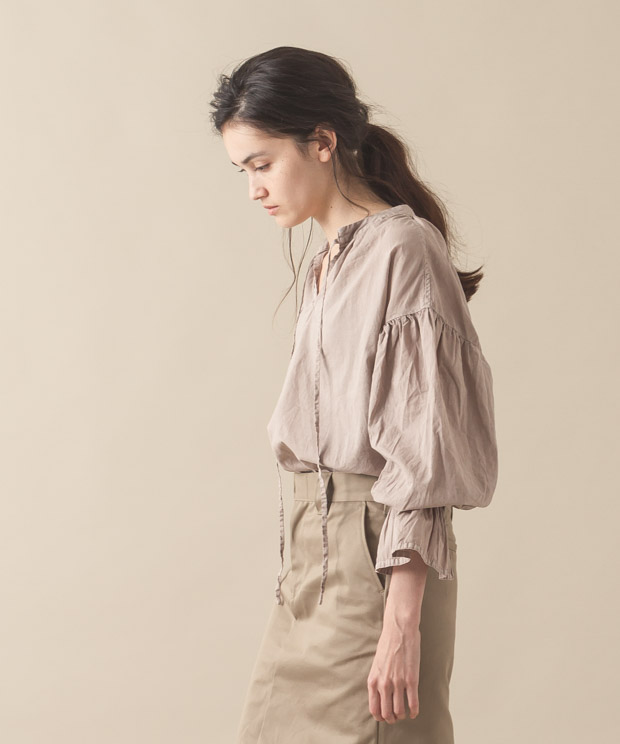 Pigment Gathered Blouse - BEIGE