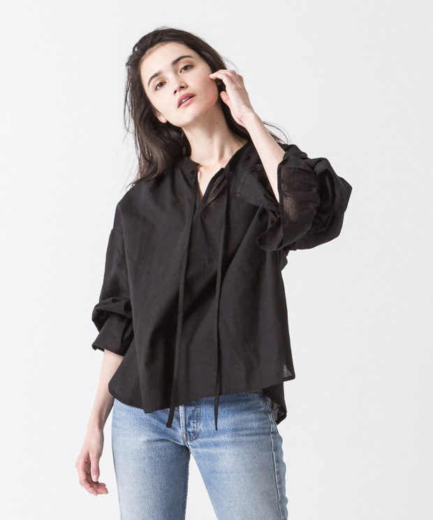 Gathered Sleeves Blouse - BLACK