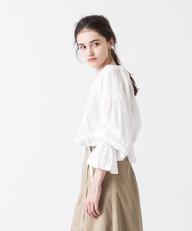 Gathered Sleeves Blouse - WHITE