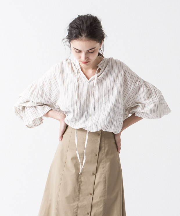 Organic Cotton Gathered Blouse - Pattern B