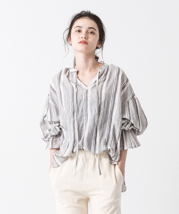 Organic Cotton Gathered Blouse - Pattern C