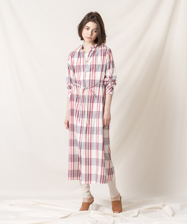 Madras Check Maxi Gown (EXCLUSIVE) - WHITE