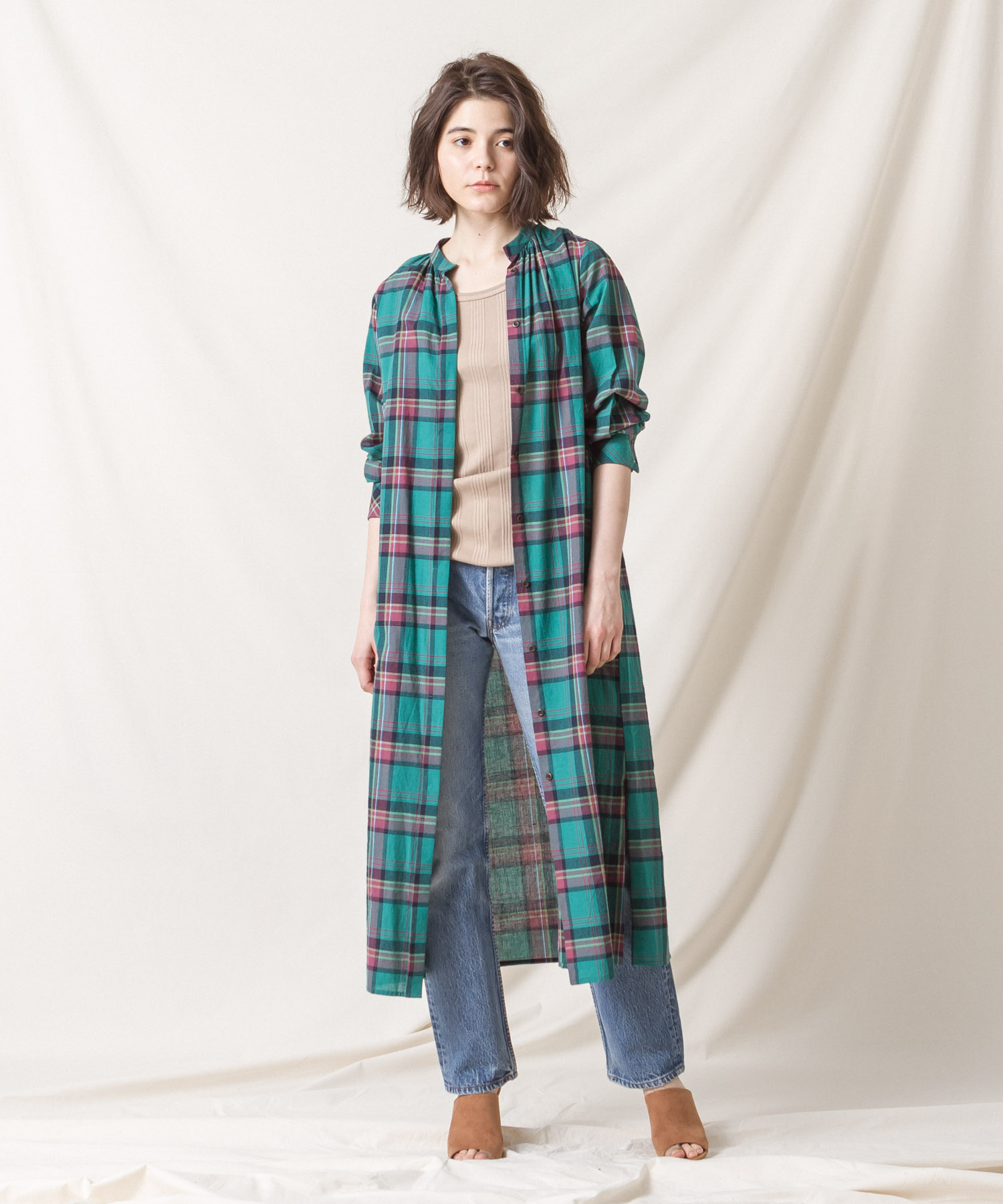 Madras Check Maxi Gown (EXCLUSIVE) - GREEN