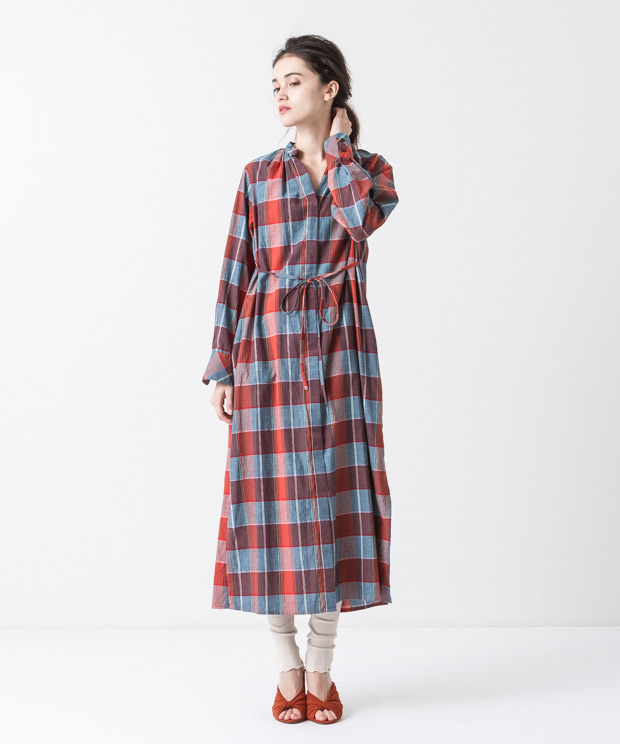 Madras Check Maxi Gown - ORANGE